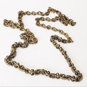 LOFT • Long Gold Link & Crystal Necklace